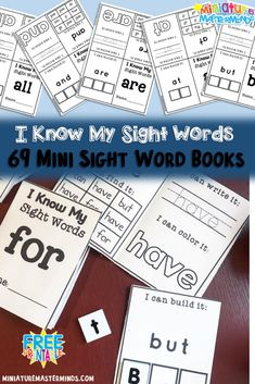 Sight Word Practice For Kindergarten and First Grade Mini Books Set #1