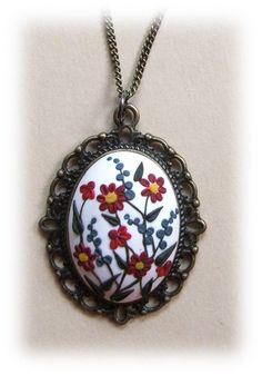 Spring Flower Jewelry- Flower Polymer Clay Jewelry- Spring Flower Pendant- White, Red, Green, Blue, Yellow