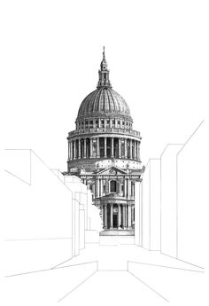 Architecture illustration St Paul's Cathedral London. Limited edition giclee print, each architectural print is hand signed and numbered. Printed on thick luxury fine art paper. Limited edition of x 42 cm / 1 Architecture Drawing Art, Architecture Drawing Sketchbooks, Architecture Illustrations, Building Drawing, Building Sketch, Building Art, London Drawing, Art Manga, London Architecture