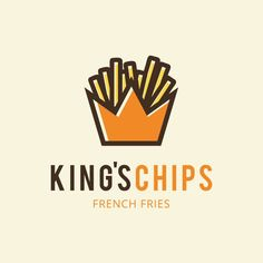King's Chips logo design created by combining a chip container with a crown | French Fries, Chips, Restaurant, Snack, Dinner, Food, Cafe, Lunch, Yummy, Tasty, Royalty, King, Prince, Royal, Branding