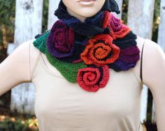 Knitt  Cowl Scarf Capelet Woman's Shawl Cape grey orange
