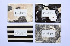 4 x 5.5 Original Handmade Cards // Thank you by LetterLustDesign