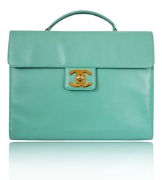 Chanel Emerald Green Caviar Laptop Business Bag - Rare - <b>Measurements:</b>W:37cm(14.56 inches) x H:28cm(11 inches) x D:5cm(1.96 inches). Made in France