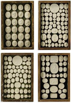 FOUR FRAMED DEAL TRAYS OF PLASTER INTAGLIOS
