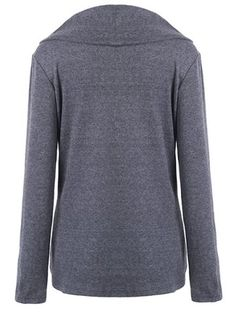 GRAY Stylish Round Neck Long Sleeve Solid Color Zippered Asymmetrical Women's Sweatshirt L
