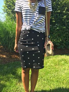 What Nicole Wore: LuLaRoe Cassie Skirt // polka dot pencil skirt, pattern mixing, outfit ideas, work outfit idea, gold statement necklace, rebecca minkoff love crossbody, black watch, print mixing