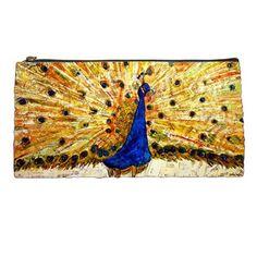 Pencil Case Peacock blue & gold gift idea for by SchulmanArts