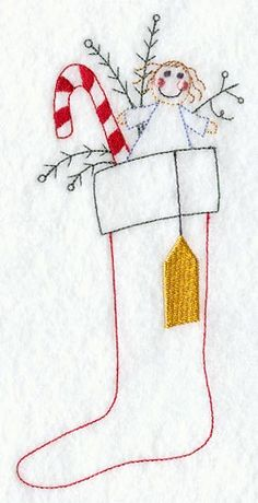 primitive christmas redwork patterns | Machine Embroidery Designs at Embroidery Library! - Stuffed Stocking
