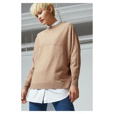Warehouse Seam Front Batwing Jumper (£39) ❤ liked on Polyvore featuring tops, sweaters, camel, jumper top, jumpers sweaters, batwing sweaters, camel sweater and beige sweater