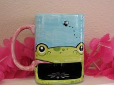 Froggy Ceramic Dunk Cookie Mug - the handle becomes her tongue | ThePotteryBug on Etsy