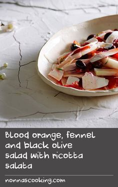 Blood orange, fennel and black olive salad with ricotta salata Tangerine Recipes, Orange Recipes, Cream Recipes, Fennel And Orange Salad, Olive Salad, Side Salad Recipes, Side Dish Recipes, Onion Side Dish Recipe, Pike Recipes