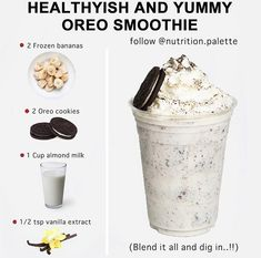 My Favourite Lately. How many of you are smoothie lovers. Easiest Oreo Smoothies by . Share your… Milkshake Recipes, Easy Smoothie Recipes, Easy Smoothies, Good Healthy Recipes, Healthy Drinks, Healthy Snacks, Snack Recipes, Milkshakes, Healthy Cake