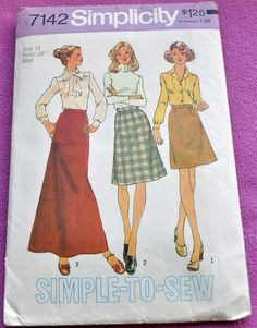 Simplicity 7142  Mod and EASY Skirts in 3 Lengths  by Clutterina