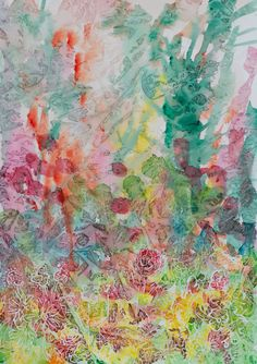 Garden Plants Rising, Abstract watercolor flower painting