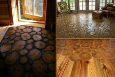 This is doable Wood floor from disks cut from logs....