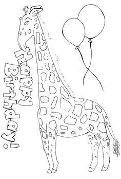happy b day giraffe coloring sheet