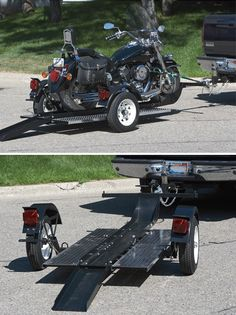 This Ultra-Tow Single-Rail Folding Motorcycle Trailer has a longer more durable ramp and a sturdier platform than most motorcycle trailers which makes loading transporting and unloading your motorcycle safer and easier. Motorcycle Towing, Motorcycle Trailer, Motorcycle Camping, Motorcycle Style, Motorcycle Design, Motorcycle Garage, Camping Gear, Kawasaki Ninja 250r, Cool Motorcycles