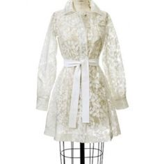 Rainy days and Mondays. Living in Seattle, a raincoat is a must, and this lace and vinyl version by Rebecca Taylor is just as functional as it is delicate. Rebecca Taylor, Raincoat, Delicate, Rain Jackets, Lace, Mondays, Rainy Days, Clothes, Seattle