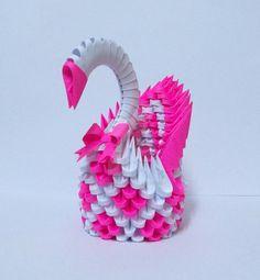 3D Origami Magenta Swan By Designermetin