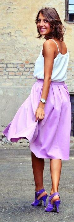 Missguided Lavender Flowy Full Midi A-skirt