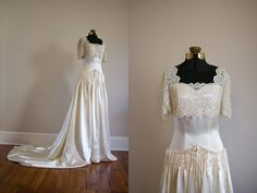 Couture 1940's Brussels Lace and Satin by VivianEliseVintage