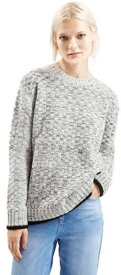 110c8362a Topshop Check Crewneck Sweater - Shop for women s Sweater - Grey Sweater