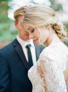 Blonde wedding hair and makeup! Love this low chignon! CHIC & ROMANTIC GATSBY WEDDING IDEAS  www.elegantwedding.ca