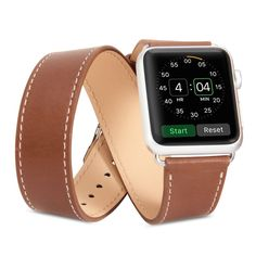 Apple Watch Band Strap, GMYLE Genuine Leather Double Tour Replacement Bracelet Wrist Armband for Apple Watch 42mm - Brown