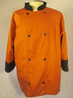 CHEF REVIVAL Double Breasted XL Crew Jacket Uniform Unisex Chef Coat Rust/Black #ChefRevival