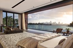 This spectacular oceanfront home was designed by CLF Architects with interiors by Dunagan Diverio Design Group, located on the Venetian Islands, in Miami Beach, Florida. Dream Home Design, My Dream Home, Beautiful Home Designs, Beautiful Homes, Future House, Dream Beach Houses, Waterfront Homes, Dream Rooms, Dream Bedroom