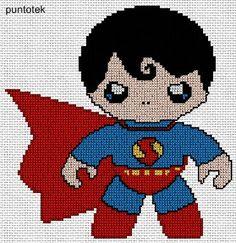 cute superman EN PUNTO DE CRUZ