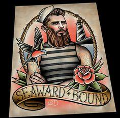 Seaward Bound by ParlorTattooPrints on Etsy