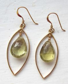 Lemon Quartz Earrings Semi Precious Stone by PATCHOULIBIRD on Etsy, $40.00