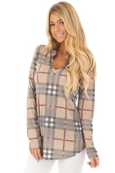 f410d51c77e7 Lime Lush Boutique - Mocha Plaid Long Sleeve Collared Top
