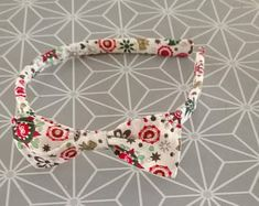 kids headband with little knot fabric cotton Christmas theme green red white color patterns flowers stars knots fir