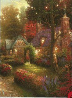 "Thomas Kinkade ""COBBLESTONE LANE I"" Boxless Puzzle FLORAL HOME NATURE  *NEW* #Ceaco"