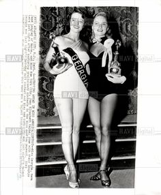 1952 press photo of Miss Georgia, Neva Jane Langley (Miss America 1953). Text on photo includes: (NY7) ATLANTIC CITY, N.J., Sept. 6--STEPPING AHEAD IN MISS AMERICA CONTEST--Miss Georgia, Neva Jane Langley of Macon, and Miss New York City, Joan Elizabeth Kanyne, pose with their trophys here last night after capturing preliminary contests in the Miss America pageant. Won Miss Georgia the year before Mother Joan Clements was in the Miss Georgia pageant.