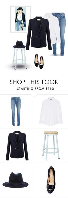 Navy Blazer~White Button Up~Jeans 3/9/2016 by idocoffee on Polyvore featuring Burberry, Finesse, Yves Saint Laurent, Charlotte Olympia, rag & bone and OSP Designs
