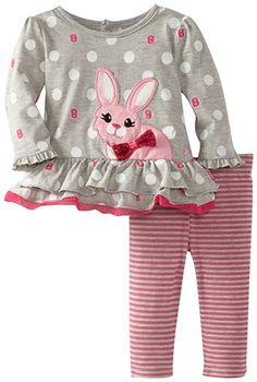 Watch Me Grow! by Sesame Street Baby-girls Newborn 2 Piece Striped Bunny Tunic and Legging, Gray, Months Gray dress with polka dots and bunny. Dresses Kids Girl, Cute Girl Outfits, Toddler Outfits, Baby Girl Newborn, Baby Girls, Kids Suits, Baby Costumes, Stylish Kids, Girls Pajamas