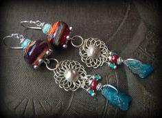 Lampwork Glass Earrings, Banjara Kuchi, Apatite Gemstone, Dangle, Primitive,Organic, Rustic, Earthy, Silver, Flower, Beaded Earrings by YuccaBloom on Etsy