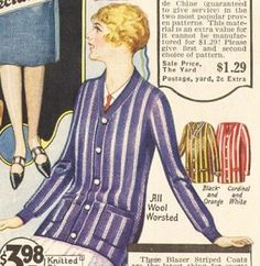 1920's Blazers- A cardigan that buttoned all the way up was called a ladies Blazer coat. Just like the men's Blazers, ladies blazers had thick vertical stripes of black and orange, red and white, or purple and white. http://www.vintagedancer.com/1920s/ladies-1920s-sweaters/