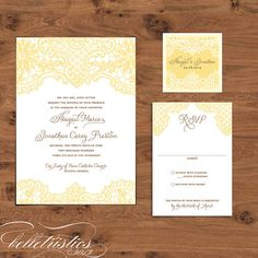 Printable DIY Wedding Invitation Set – I love this, but not in yellow.