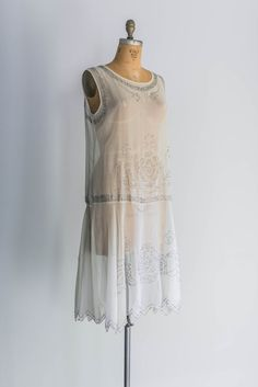 1920s Silk Chiffon Beaded Flapper Dress