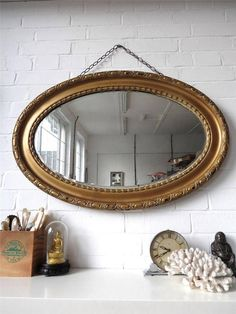 Decorative Arts Sweet-Tempered Pair Of Antique Victorian Gilt Frame Wall Mirrors Rectangular Ornate Gold Js Mfg Attractive Appearance Mirrors