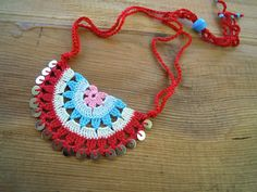 crochet necklace, red,cream,turquoise,blue,pink, sequines
