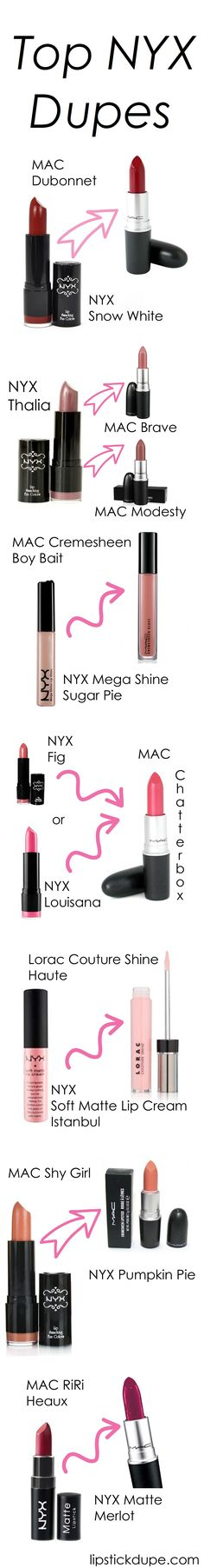 NYX Lip Dupes! MAC and Lorac dupes. #dupe #dupes #macdupes www.lipstickdupe.com