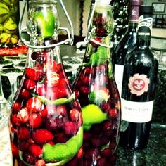Cranberry and lime infused vodka :)  Use about 2 bags of fresh cranberries- Poke a hole into each cranberry (I used a tooth pick)- Peel the rind off of two limes (set aside)- Alternate between the fruit and rind until bottle is filled- Put about 2 tablespoons of sugar in bottle and fill with vodka to top- Give the bottle a good shake daily for 2-6 weeks- Obviously the longer the better.   I gave this away as a gift with a bottle of sparkling wine to create a cran-flitini.   Equal…