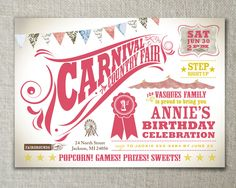 Kids birthday invitation. Carnival and country fair theme. Vintage feel..