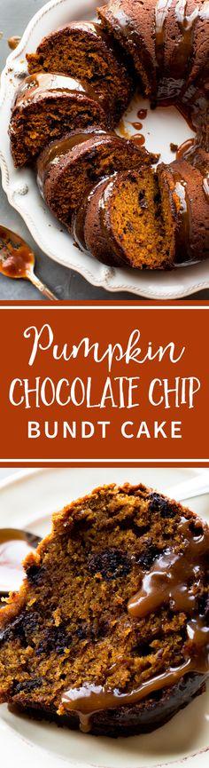 Deliciously moist pumpkin bundt cake with chocolate chips and caramel sauce on top! Pumpkin chocolate chip bundt cake recipe on sallysbakingaddiction.com