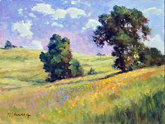 HILLSIDE POPPIES   Mobile Artwork Viewer Pastel Landscape, Vintage Landscape, Watercolor Landscape, Landscape Art, Landscape Paintings, Landscapes, Bull Painting, Impressionist Paintings, Plein Air